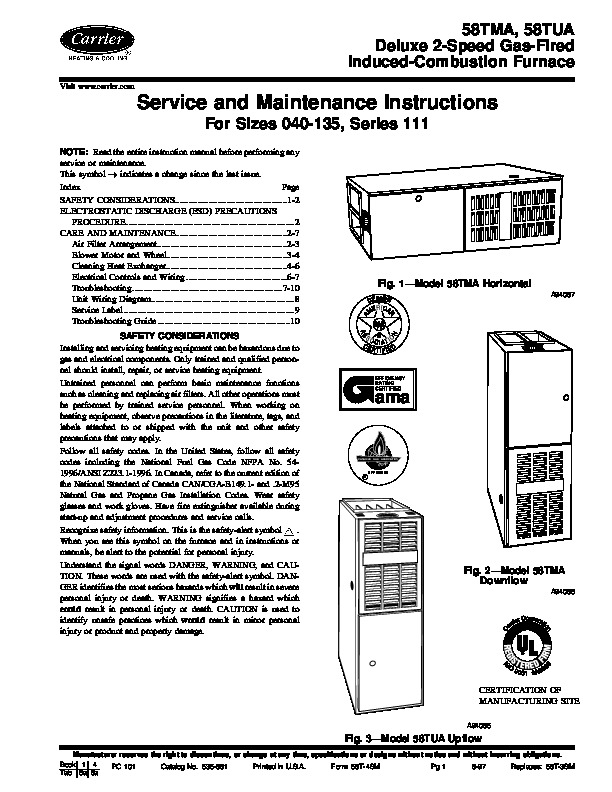 Carrier 58T 4SM Gas Furnace Owners Manual
