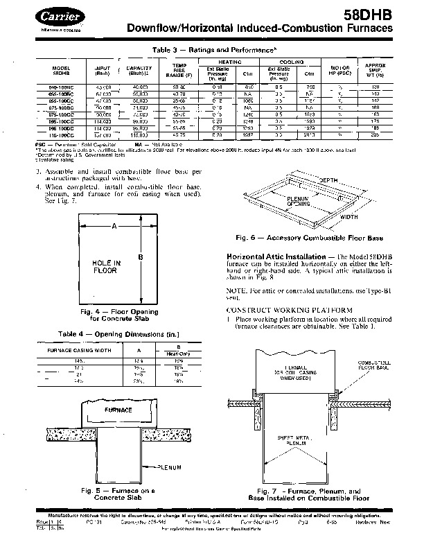 Carrier 58DHB 1SI Gas Furnace Owners Manual