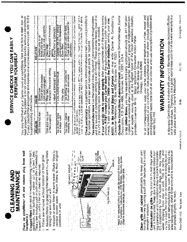 Carrier 51 112 Heat Air Conditioner Manual
