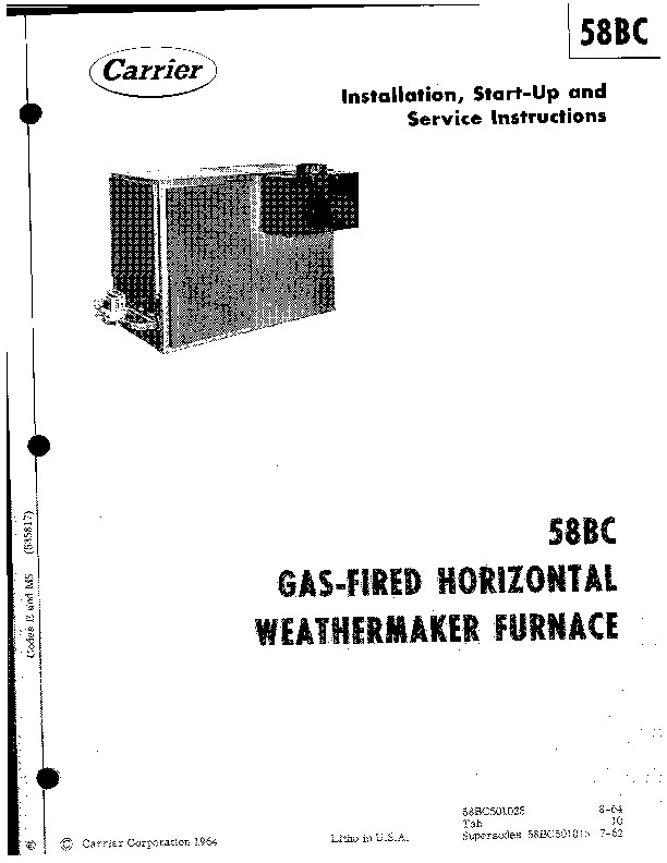 Carrier 58BC501025 Gas Furnace Owners Manual