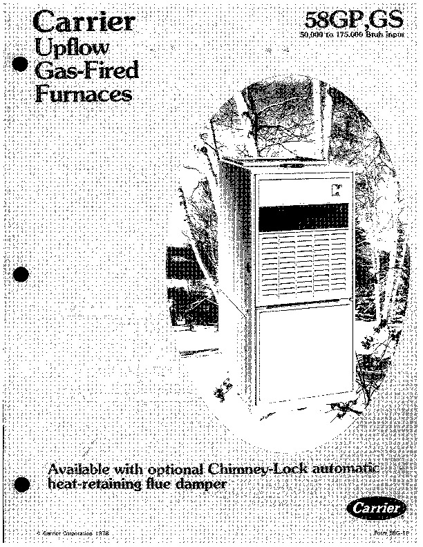 Carrier 58G 1P Gas Furnace Owners Manual