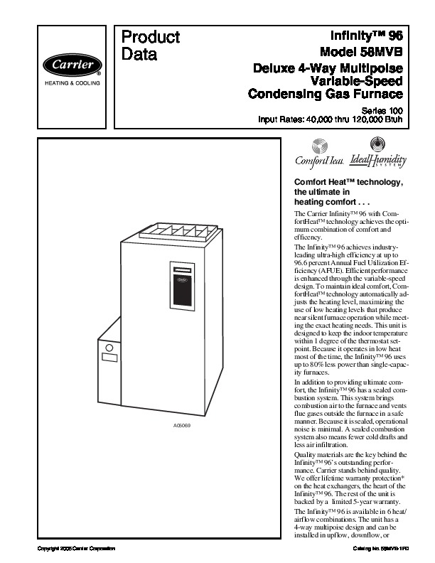 Carrier 58MVB 1PD Gas Furnace Owners Manual