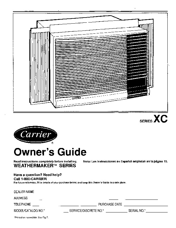 Carrier 73xc2si Heat Air Conditioner Manual