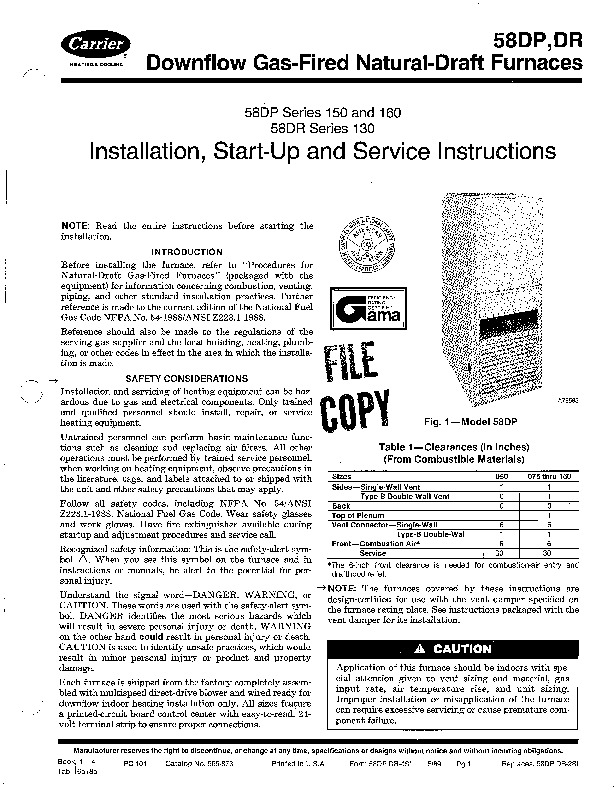 Carrier 58DP _DR 4SI Gas Furnace Owners Manual