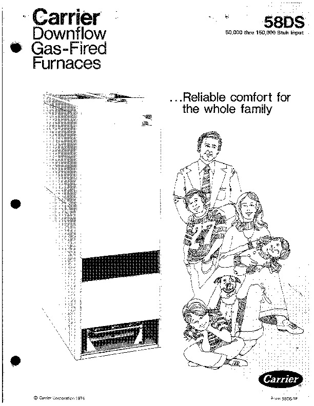 Carrier 58DS 1P Gas Furnace Owners Manual
