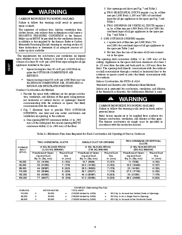 Carrier 58ST 20SI Gas Furnace Owners Manual