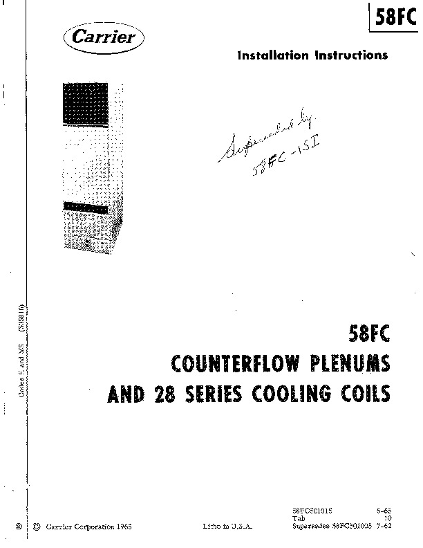 Carrier 58FC501015 Gas Furnace Owners Manual