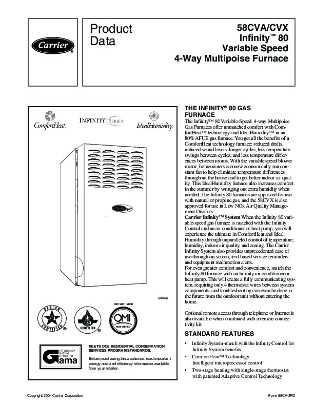 Carrier 58CVA 58CVX 3PD Gas Furnace Owners Manual