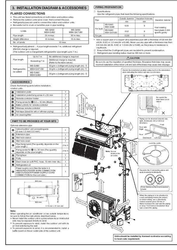 Mitsubishi MS GA60 80 VB MSH GA 60 71 80 VB Wall Air