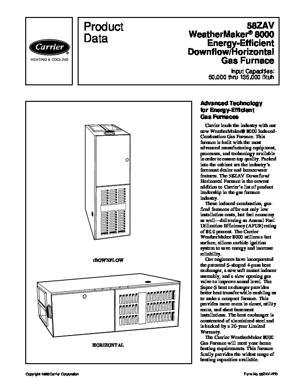 Carrier 58ZAV 7PD Gas Furnace Owners Manual