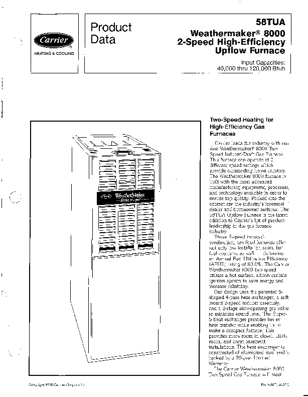 Carrier 58TUA 3PD Gas Furnace Owners Manual