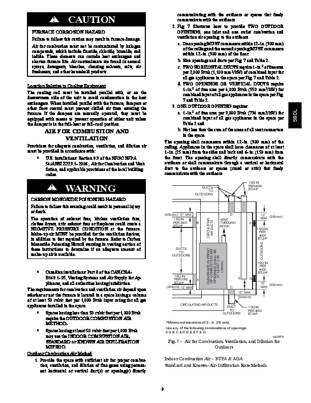Carrier 58DL 9SI Gas Furnace Owners Manual