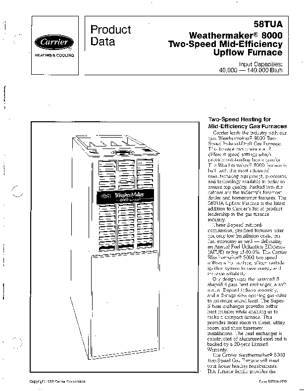 Carrier 58TUA 2PD Gas Furnace Owners Manual