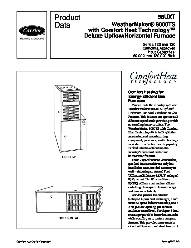Carrier 58UXT 7PD Gas Furnace Owners Manual