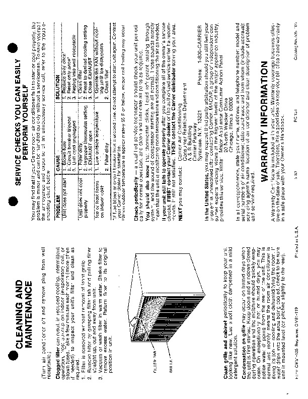 Carrier 51 125 Heat Air Conditioner Manual