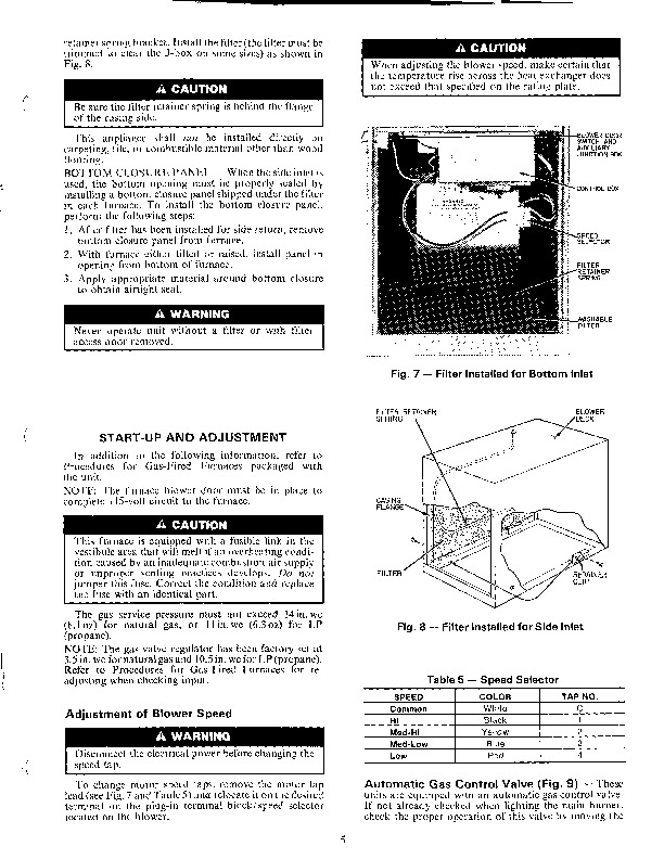 Carrier 58GSC 5SI Gas Furnace Owners Manual