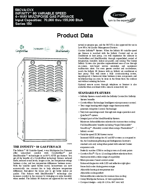 Carrier 58CVA 58CVX 6PD Gas Furnace Owners Manual