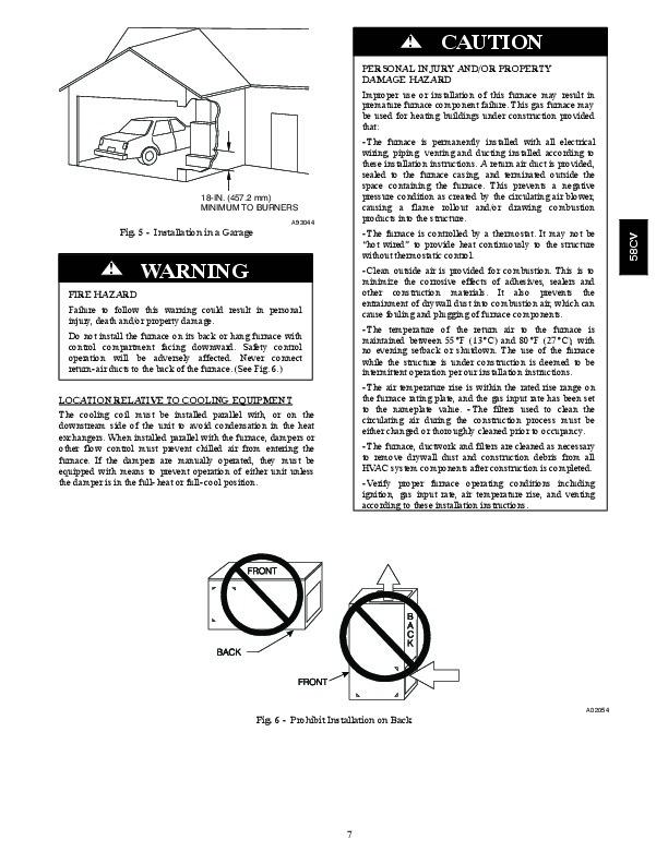 Carrier 58CVA 58CVX 11SI Gas Furnace Owners Manual