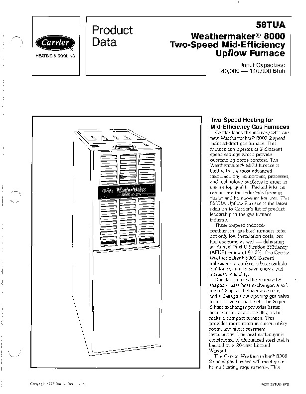 Carrier 58TUA 1PD Gas Furnace Owners Manual