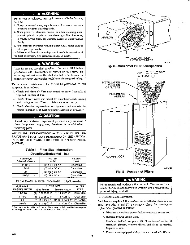 Carrier 58T 1SM Gas Furnace Owners Manual