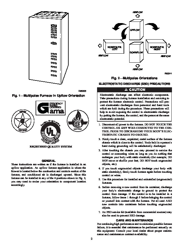 Carrier 58MCA 8SM Gas Furnace Owners Manual