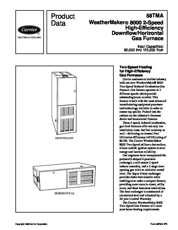 Carrier 58TMA 7PD Gas Furnace Owners Manual