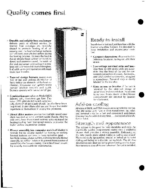 Carrier 58DE 58DS 1P Gas Furnace Owners Manual