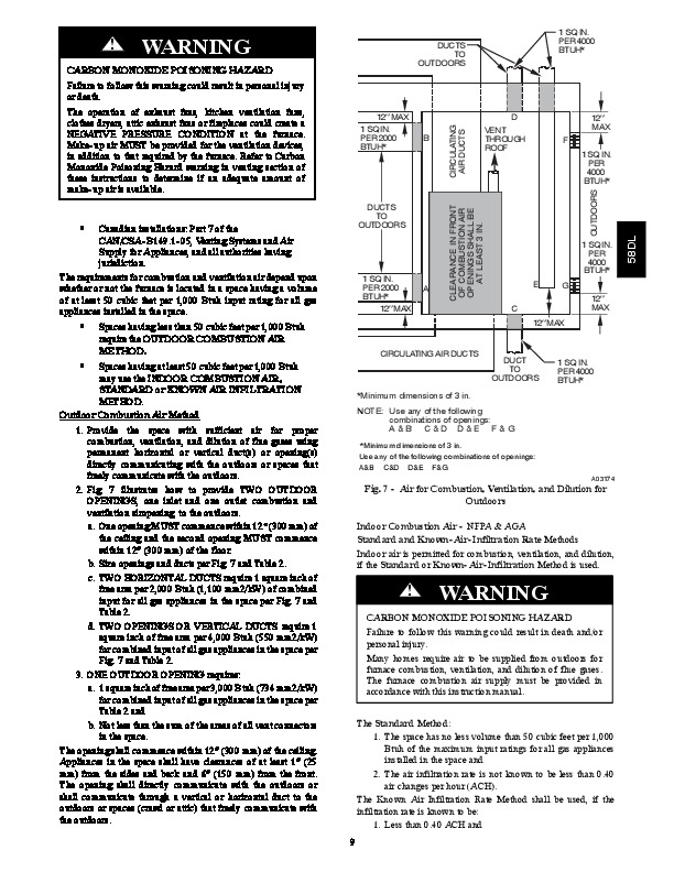 Carrier 58DL 8SI Gas Furnace Owners Manual