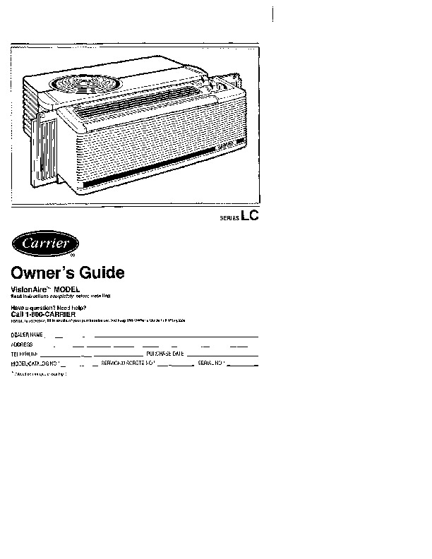 Carrier 73lc 1si Heat Air Conditioner Manual