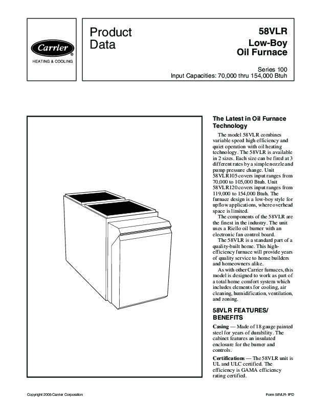Carrier 58VLR 1PD Gas Furnace Owners Manual