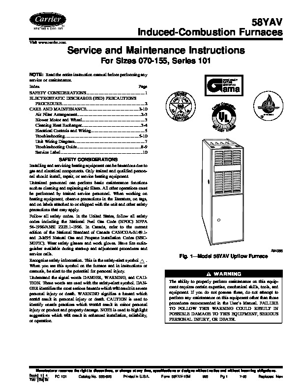 Carrier 58YAV 1SM Gas Furnace Owners Manual