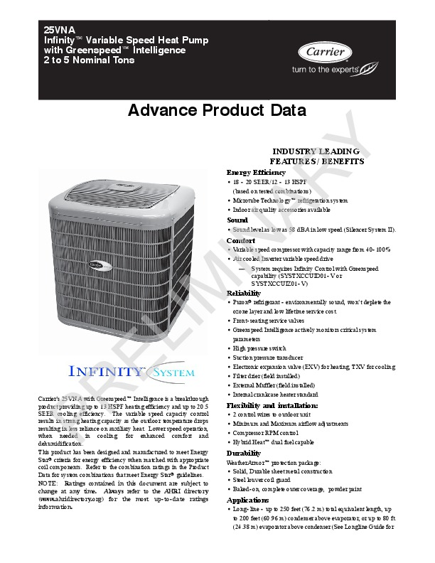 Carrier 25vna 01apd Heat Air Conditioner Manual