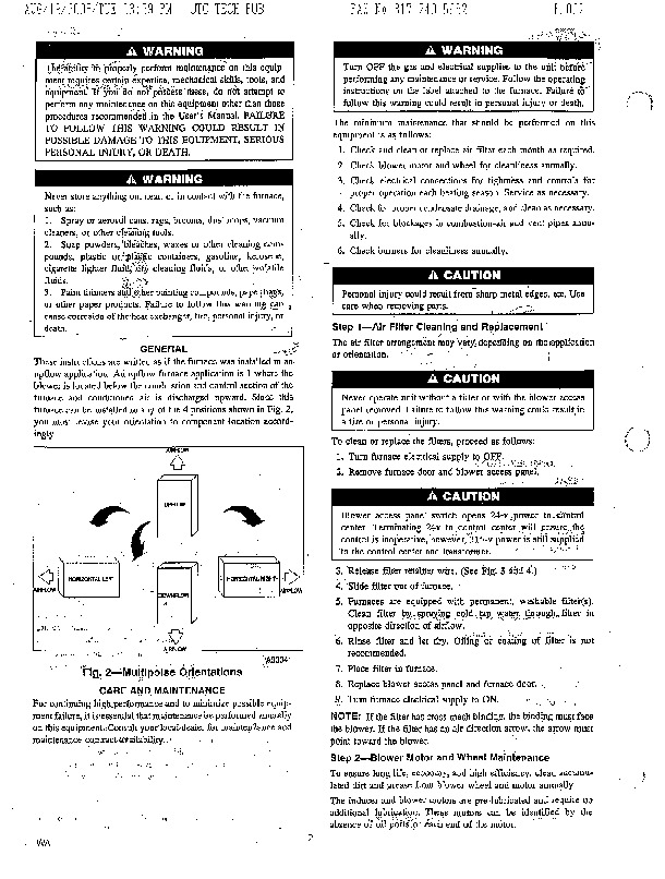 Carrier 58M 1SM Gas Furnace Owners Manual