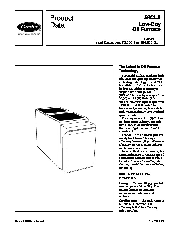 Carrier 58CLA 1PD Gas Furnace Owners Manual