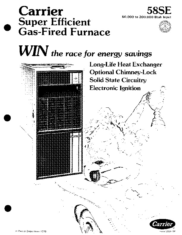 Carrier 58SE 1P Gas Furnace Owners Manual