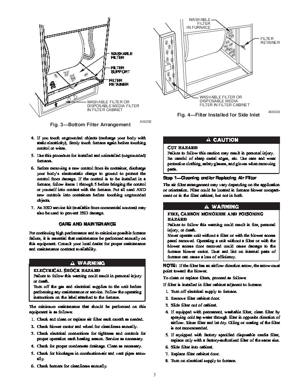 Carrier 58MXA 10SM Gas Furnace Owners Manual