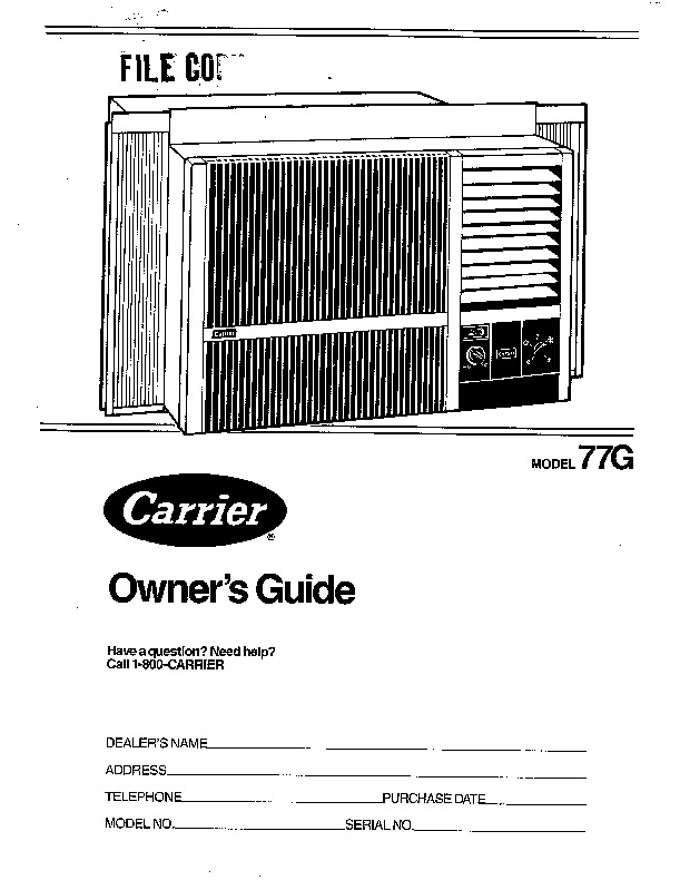 Carrier 77g 1si Heat Air Conditioner Manual