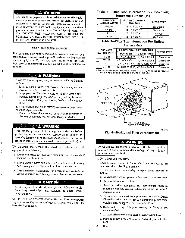 Carrier 58P 58R 7SM Gas Furnace Owners Manual
