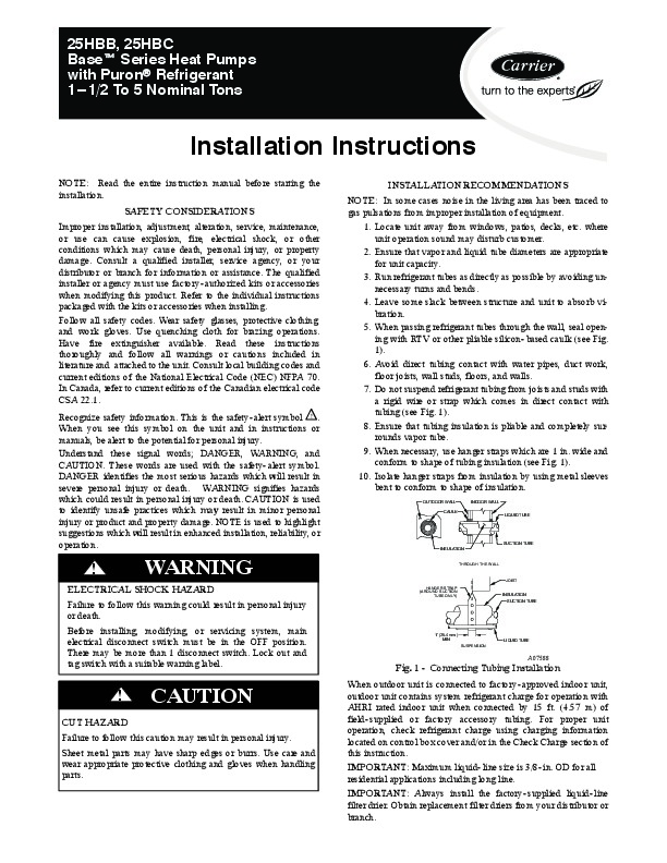 Carrier 25hbb C 5si Heat Air Conditioner Manual
