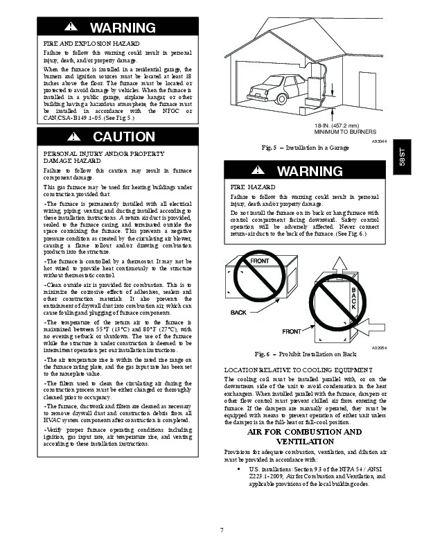 Carrier 58ST 19SI Gas Furnace Owners Manual