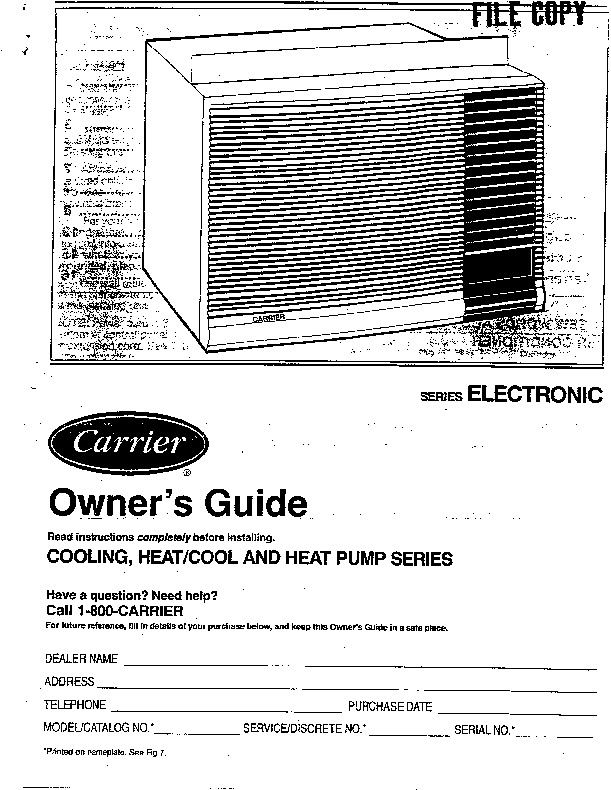 Carrier 73xce Yce 1si Heat Air Conditioner Manual