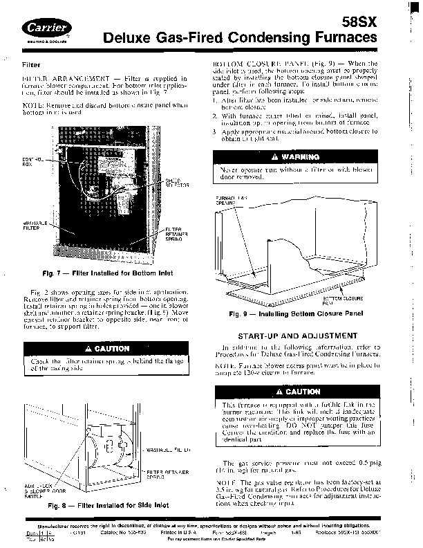 Carrier 58SX 4SI Gas Furnace Owners Manual