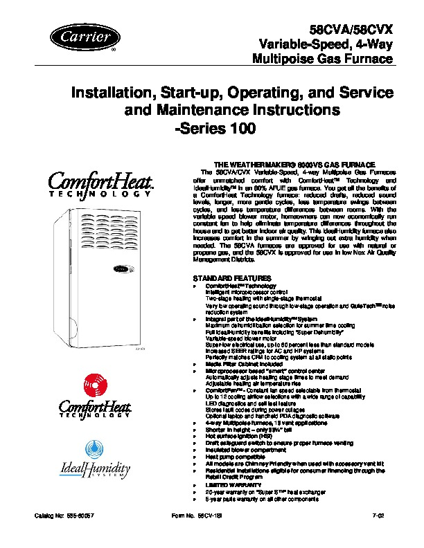Carrier 58CVA 58CVX 1SI Gas Furnace Owners Manual