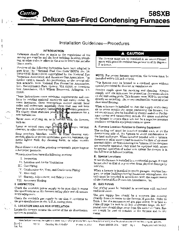 Carrier 58SXB 2XA Gas Furnace Owners Manual