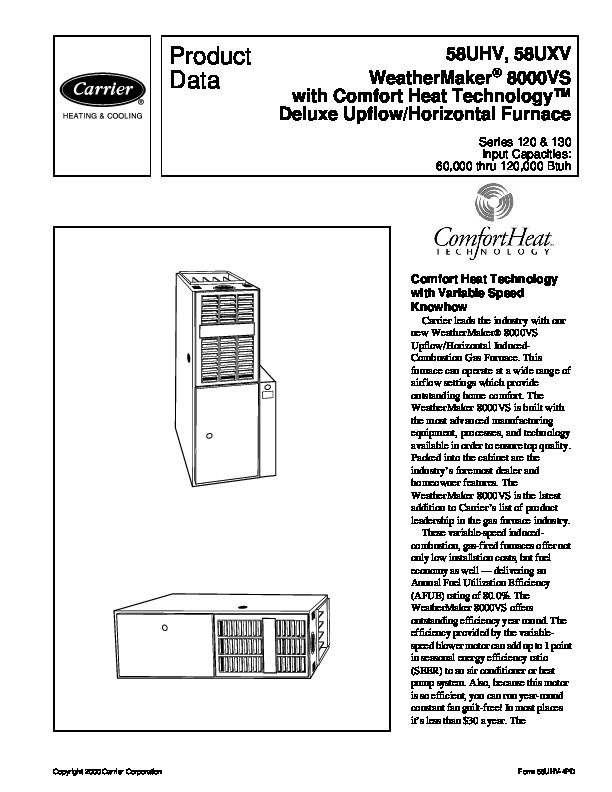 Carrier 58UHV 4PD Gas Furnace Owners Manual