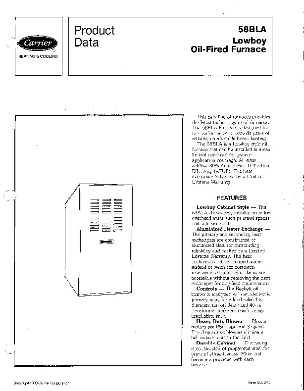 Carrier 58BLA 2PD Gas Furnace Owners Manual