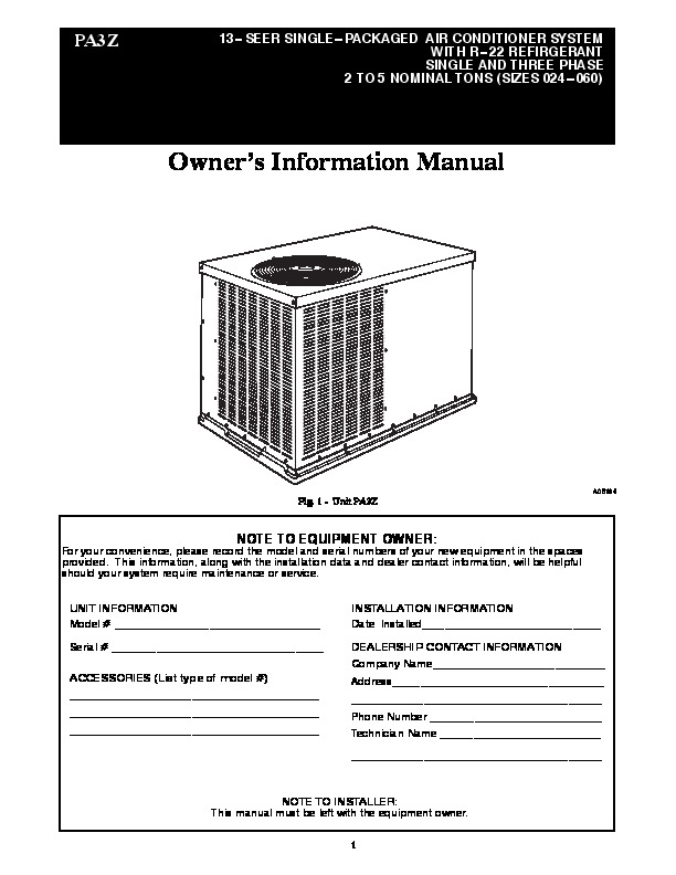 Carrier Pa3z 03 Heat Air Conditioner Manual