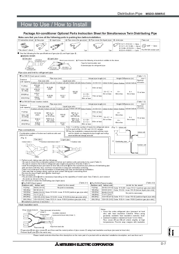 Mitsubishi 2008 Air Conditioner Optional Parts Manual
