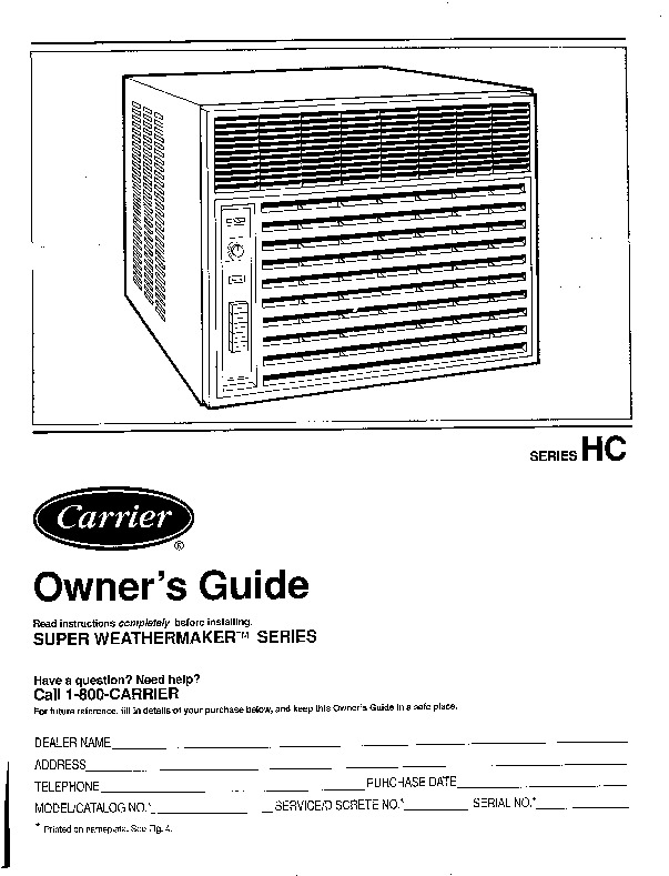 Carrier 73hc 1si Heat Air Conditioner Manual
