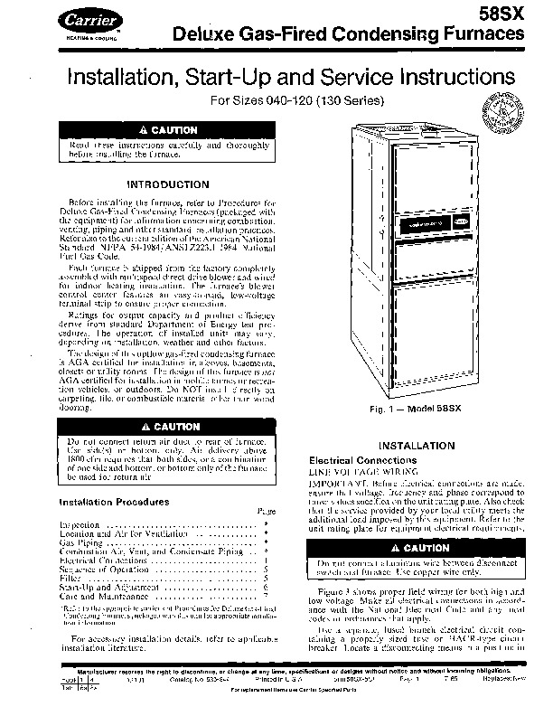 Carrier 58SX 5SI Gas Furnace Owners Manual